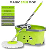 #10: Avekin Easy Magic Floor Mop 360° Bucket PVC Mop with 2 Micro Fiber Mop Head(Random Color)