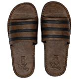 Best Leather Slippers - Kraasa Men's Camel Synthetic Leather Slippers- 8 Review