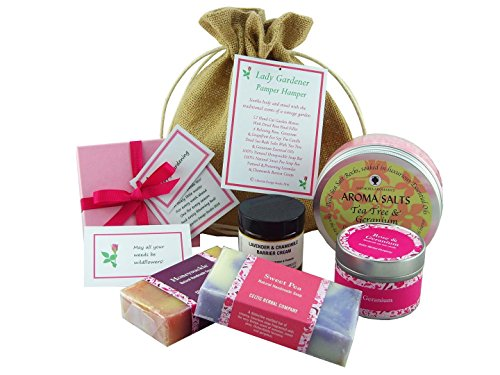'Lady Gardener' - Cottage Garden Pamper Hamper. Soothe The Body With Luxury, All Natural Bath & Body Products With Rose, Geranium, Chamomile, Lavender & Sweet Pea. Then Relax & Unwind With Rose & Geranium Eco Soy Tin Candle & ' Blooming Wisdom' Gardening Quotes.