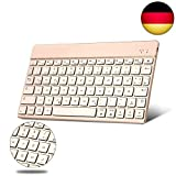 BORIYUAN Ultra dünn Deutsch (Qwertz) Bluetooth Tastatur, 7 Farben hinterleuchtet Wireless Bluetooth 3.0 Tastatur, Aluminium-Gehäuse, für Allen Apple Ipad IOS Windows Mac Android Geräte - (Gold)