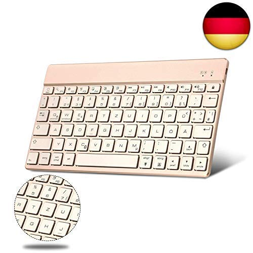 BORIYUAN Ultra dünn Deutsch (Qwertz) Bluetooth Tastatur, 7 Farben hinterleuchtet Wireless Bluetooth 3.0 Tastatur, Aluminium-Gehäuse, für Allen Apple Ipad IOS Windows Mac Android Geräte - (Gold) (Ipad Mini Bluetooth Tastatur Fall)