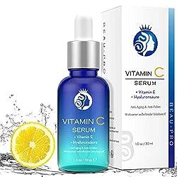 Vitamin C Serum, Hochdosiert mit Hyaluronsäure von BEAU-PRO, Natürliche AntiAging+Anti Falten für Gesicht, mit 20% Vitamin C+Hyaluronsäure+Vitamin E+Arbutin, Effektiv aufhellende Inhaltsstoffe,30ml