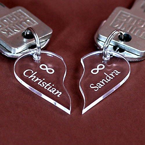 Preisvergleich Produktbild Acrylglas Unendlichkeits-Anhänger, individuell graviert, Schlüsselanhänger in verschiedenen Formen zur Auswahl, Form:geteiltes Herz