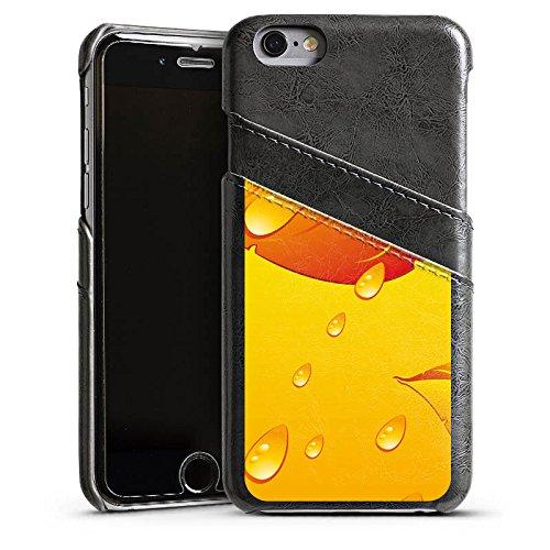 Apple iPhone 4 Housse Étui Silicone Coque Protection Feuilles Gouttes de pluie Automne Étui en cuir gris