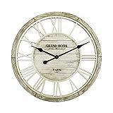 Rebecca Mobili RE6140 Decorazione Orologio Legno Shabby Grande Numeri Romani Diametro, MDF, Grigio, 60x4.5x60 cm