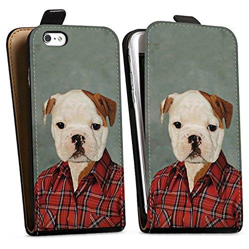 Apple iPhone X Silikon Hülle Case Schutzhülle Hund Dog Bulldogge Downflip Tasche schwarz