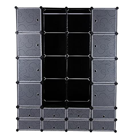 Songmics Plastic Closet Wardrobe Bedroom Furniture Cabinet Storage Organiser Interlocking Cube Box 180 x 145 x 37 cm Black LPC42H