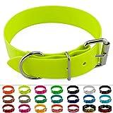 LENNIE BioThane Halsband, Edelstahl-Rollschnalle, 38 mm breit, Größe 52-62 cm, Neon-Gelb, Aufdruck möglich