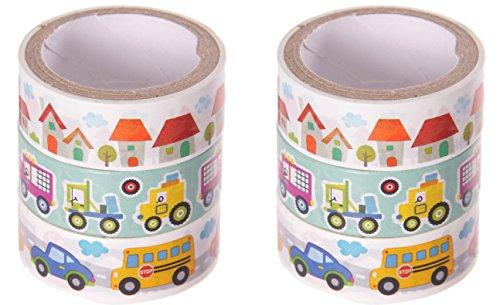 """Masking Tape 6er Set:""""Fahrzeuge: Autos, Bus, Traktor, LKW"""" Für Jungs/ Kinder (Cool)"""