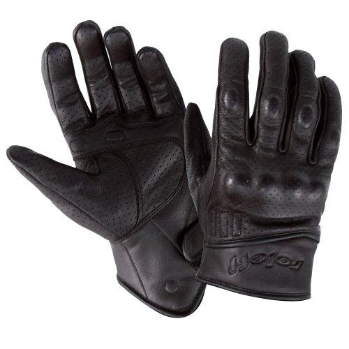 Roleff Racewear Guantes de Cuero, Negro, L