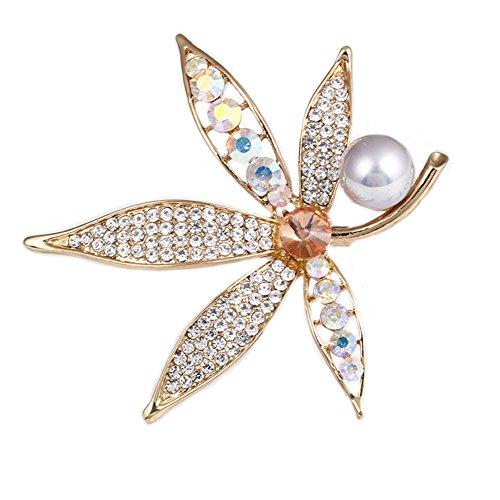 Meigold Broche Diamant Perle Broche Maple Leaf Broche Fille Accessoires Vêtements Cadeau Anniversaire 7 * 8CM Blanc