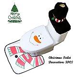 Set di 3 tappeti da toilette copre le decorazioni natalizie impostate con la copertura del sedile di toletta copertina e decorazioni da bagno del tappeto