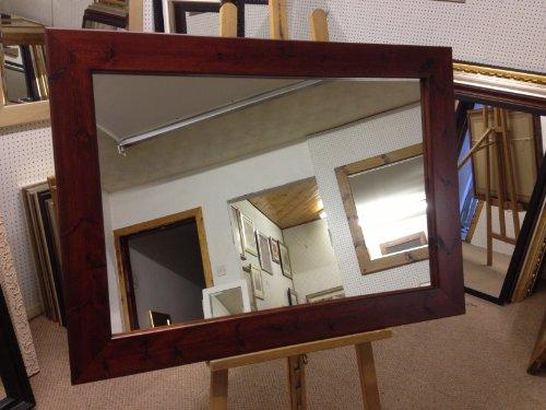 New 10,2cm flach Moderne Geschoben rot Mahagoni gebeizt massiv Kiefer Wand- und Lasur-Verschiedene Größen erhältlich (Wate Spiegel Glas, 78,7x 78,7cm (79x 79cm)) - Mahagoni Gebeizt