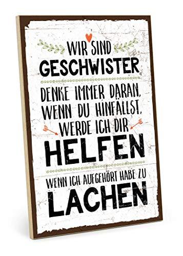 TypeStoff Holzschild mit Spruch - WIR SIND Geschwister - im Vintage-Look mit Zitat als Geschenk und Dekoration zum Thema Bruder, Schwester, Liebe, Familie und Zusammenhalt (M - 19,5 x 28,2 cm) -