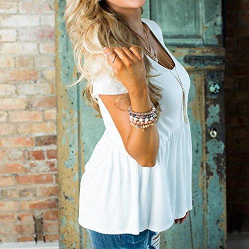 Chemise Femme,Manadlian Tuniques Femme T-Shirt Blouse Basic Plissé Row Pleats Col Arrondi O-Neck à Manches Courtes Blanc