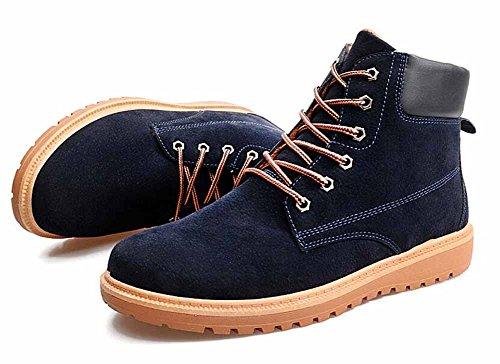Uomini Casuale Stivali Martin Nuovo Autunno Inverno Britannico Moda Piatto Scarpe In Cima La Neve Stivali Taglia Larga Blue