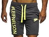 LEIF NELSON GYM Herren Fitness Hose Short Trainingshose Trainingsshort 06296; Grš§e XL, Anthrazit-Gelb