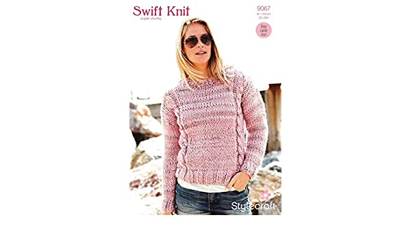 014b63ed0 Stylecraft 9067 Knitting Pattern Ladies Cable Sweater in Swift Knit Super  Chunky  Amazon.co.uk  Kitchen   Home