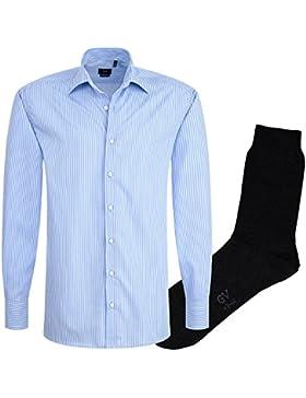 ETERNA Herrenhemd Modern Fit, blau gestreift, Popeline + 1 Paar hochwertige Socken, Bundle