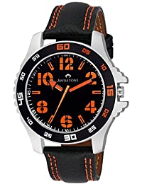 Swisstone FTREK064-ORN Black Dial Black Leather Strap Analog Wrist Watch For Men/Boys