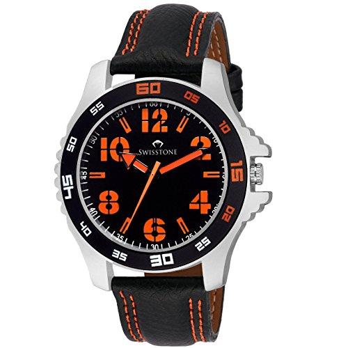 Swisstone FTREK064-ORN Black Dial Black Leather Strap Analog Wrist Watch For Men/Boys