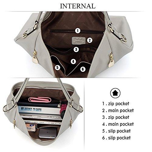 BOSTANTEN Women Leather Handbags Cross Body Satchel Designer Shoulder Tote Bags Grey grigio