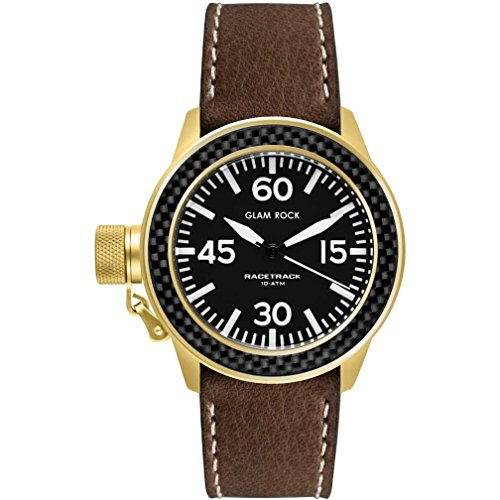 Glam Rock Unisex Racetrack 40mm Brown Leather Band Gold Plated Case Quartz Black Dial Watch GRT29005F