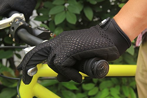 Lerway Anti-Rutsch Outdoor Hände Handschuhe Breath Weich Vollfinger MTB Handschuh Fahrradhandschuhe für Radfahren,Fahrrad Sports (Schwarz, M) - 3