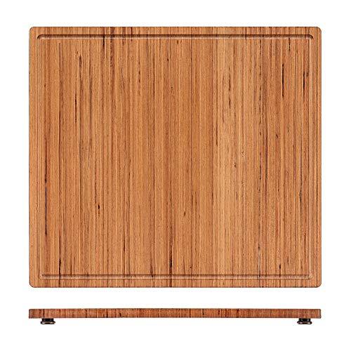 StreamBrush Herdabdeckplatte Schneidebrett Holz massiv (Fineline) - Perfekte Herdabdeckung aus Holz | 56x50x4cm | Ideal auch als Nudelbrett, Tranchierbrett oder Backbrett | Hitzebeständig & Robust