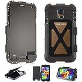 Alienwork Schutzhülle für Samsung Galaxy S5 Ständer Hülle Case Bumper Stoßfest Edelstahl schwarz SI9600F-01