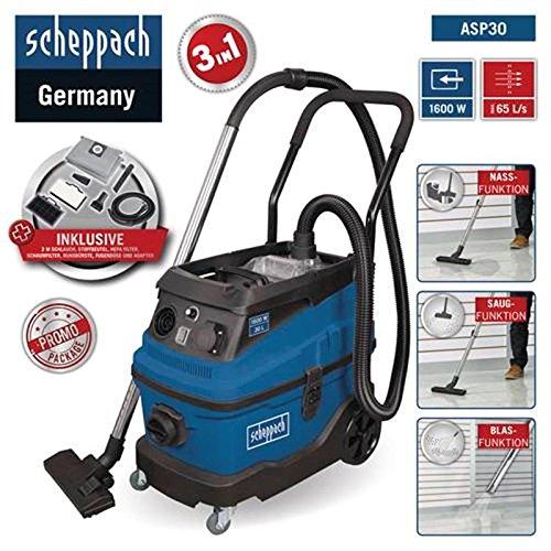 Scheppach Industriestaubsauger ASP30 (Nass Trockensauger 1600 W, Saugleistung 190 mbar, 30 L, Arbeitsradius 7m, Hepa-Filter, Filterreinigungsfunktion) inkl. Zubehörset