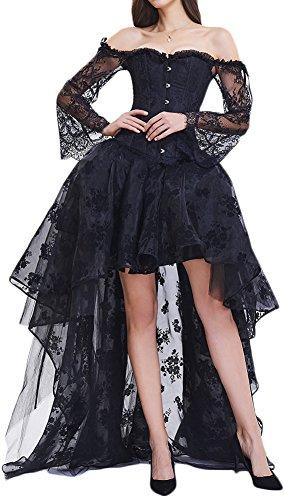 EmilyLe Mujeres Deshuesado Corsé Gótico Halloween Vestido Clubwear Fiesta Traje (L,1-Negro)