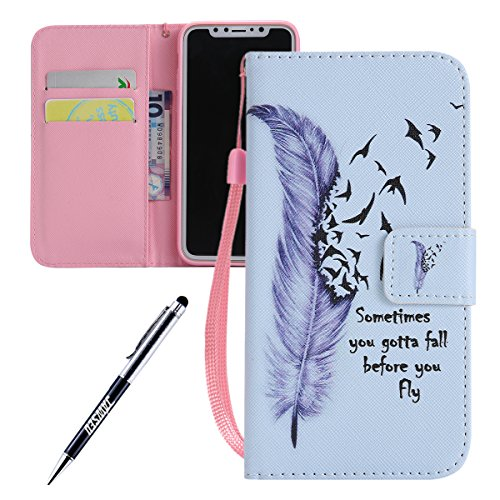 iPhone X Cover Custodia, iPhone X Custodia Pelle, JAWSEU Apple iPhone X Protezione Creativo Modello Libro Disegno Wallet Pouch Leather Flip Case Cover Custodia per iPhone X Cover Copertura con Super S Piuma