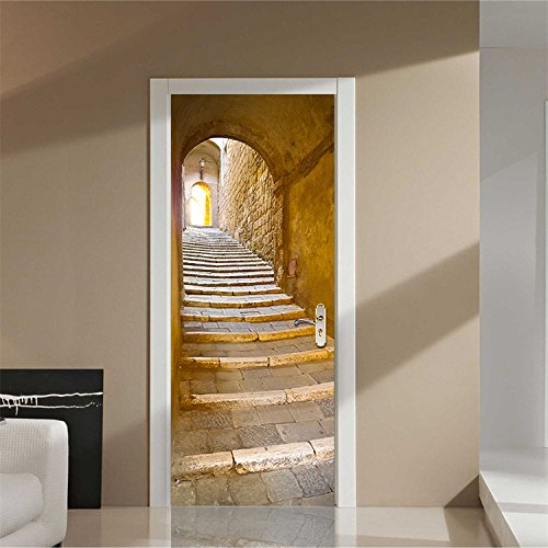 """Price comparison product image Yanqiao Adhensive European Stone Steps Door Wall Sticker for Living Room Personality Decoration Removable Vinyl Home DIY Decor, 30.3*78.7"""""""