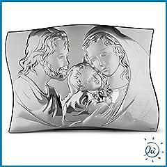 Idea Regalo - Albalù Italia Icona Argento Laminato Sacra Famiglia Retro in Legno Misura 32x45 cm