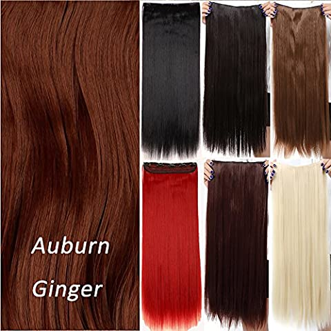 Fashion Long Straight One Piece 5Clips Clip in Hair Extension Extensions Half Full Head Womens Ladies 26 inches Auburn