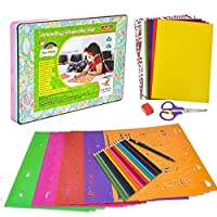 Drawing Stencils, 64 Pcs Kids Art Crafts Kit and DIY Magnetic Puzzle with Magnet Paper, Colored Pencil, Stencils Over 300 Shapes, Educational Toys Xmas Gift for Girls Boys Age 3 4 5 6 7 8 9+ Years Old