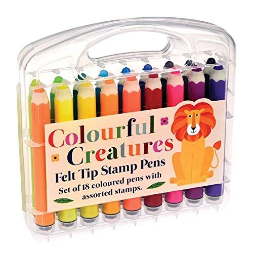 Rex International Kinder- Filzstifte mit integriertem Stempel pro Stift, 18 Stück