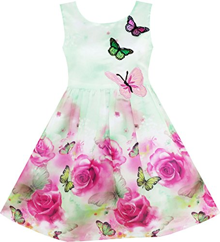 HY15 Girls Dress Rose Flower Print Butterfly Embroidery Green Age 8 Years
