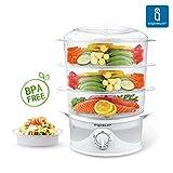 Aigostar Fitfoodie 30CFO - Food Steamer mit Timer, 3-Etagen Stapelkörbe, 800W, BPA frei, Exklusives Design.