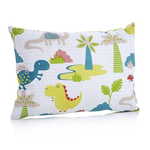 La Petite Unique |35 x 25 cm oreiller pour enfants | décoration adaptée aux enfants | 100% non-toxique | oreiller lavable et certifié Ökotex pour bébés | Dinosaure vert