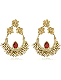 Spargz Ethnic Gold Plated AD Stone With Cluster Pearl Chand Bali Earring AIER 946