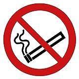 Rauchen verboten Aufkleber Rauchen verboten (15 Stück), 95 mm Durchmesser - Rauchverbot Aufkleber vorgestanzt für Innen & Außen, witterungsbeständig Rauchen verboten Schild überkleben - Nichtraucher P002 - Rauchen-verboten