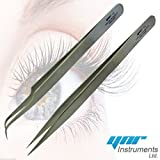 YNR® Swiss Quality Tweezers Straight Curved For Individual Eyelash Extensions (Set of Volume Lash Curved & Straight Silver)