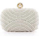 LONGBLE Damen Clutch Perlen Weiß Abendtasche für Party Hochzeit Frau Geschenk Tasche Elegant Handtasche klein Brauttasche Ket