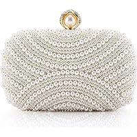 LONGBLE Damen Clutch Perlen Weiß Abendtasche für Party Hochzeit Frau Geschenk Tasche Elegant Handtasche klein…