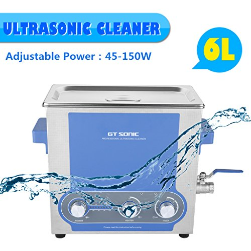 Buy GT SONIC Newest 6L Ultrasonic Cleaner Heating Timer Heating Temperature and Power Adjustable Stainless Waterproof Tank with Drain Tap for Jewelry/Household Commodities/Glasses/Coins/Metal Parts Cleaning Review