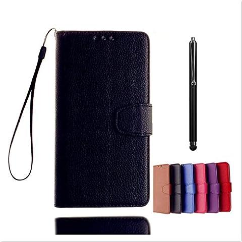KSHOP Coque de protection BookStyle pour Sony Xperia XA /Cas de téléphone haut de gamme PU cuir noir cas Fermeture magnétique portefeuille de protection de téléphone portable- stylo tactile métal noir