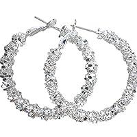 Amesii Women Jewelry Silver Plated Stars Hoop Earring