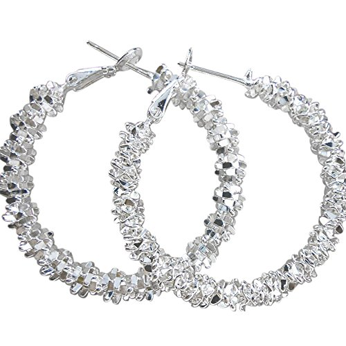 Amesii - Women's hoop earrings, sterling silver 925, star design
